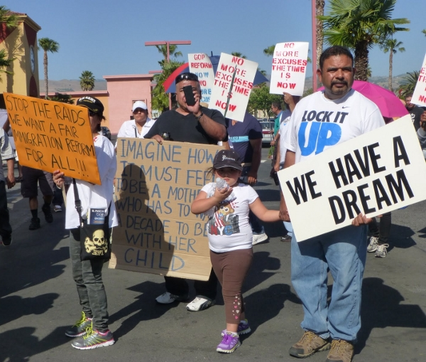 As many as 20,000 people marched in one of the country's largest May Day immigrant and labor-rights marches this year. Photo/Joan Simon