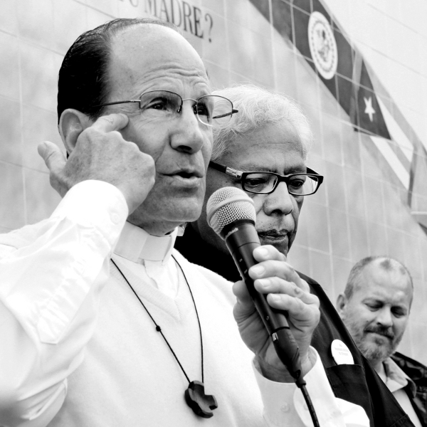 Father Alejandro Solalinde, a Mexican priest, headed a caravan through the U.S. to denounce the brutality suffered by our migrant brothers and sisters from Central and South America. Thousands of migrant victims are killed and/or disappeared. Photo/David Sandoval