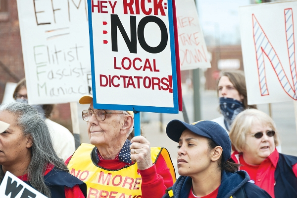 Hundreds of Michiganders rally in Benton Harbor to protest the city's Emergency Financial Manager. The Managers strip power from elected officials in the city.  PHOTO/BRETT JELINEK