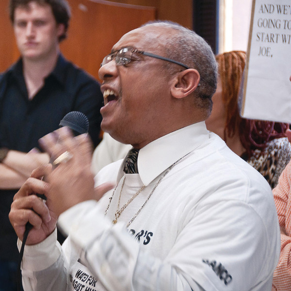 Rev. Pinkney speaking at a protest against the city's Emergency Manager PHOTO/BRETT JELINEK