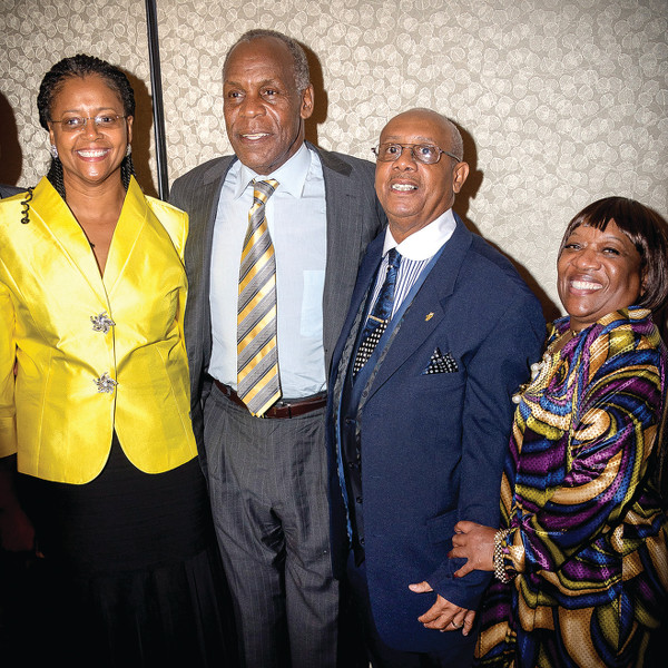 Fall 2013 BANCO dinner with keynote speaker actor Danny Glover. From left to right, Belinda Brown, Danny Glover, Rev. Pinkney, Dorothy Pinkney. PHOTO/BRETT JELINEK