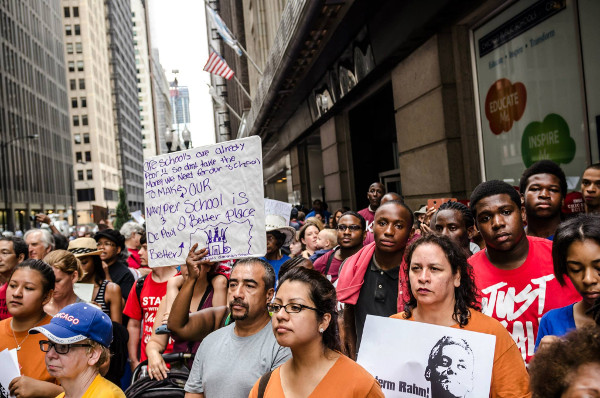 Protest in Chicago over the cutbacks on public education. The Chicago Board of Education, appointed by the Mayor, is dominated by corporate leaders. PHOTO/SARAH JANE RHEE