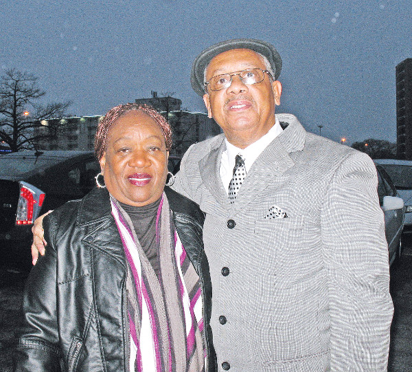 Rev. PInkney and his wife Dorothy outside courthouse. PHOTO/SANDY REID, PEOPLE'S TRIBUNE