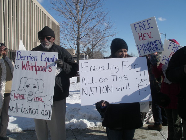 Protest outside the Berrien County Courthouse following a hearing on a motion to release Rev. Pinkney pending bail, which the Judge denied. Photo/Sandy Reid, People's Tribune