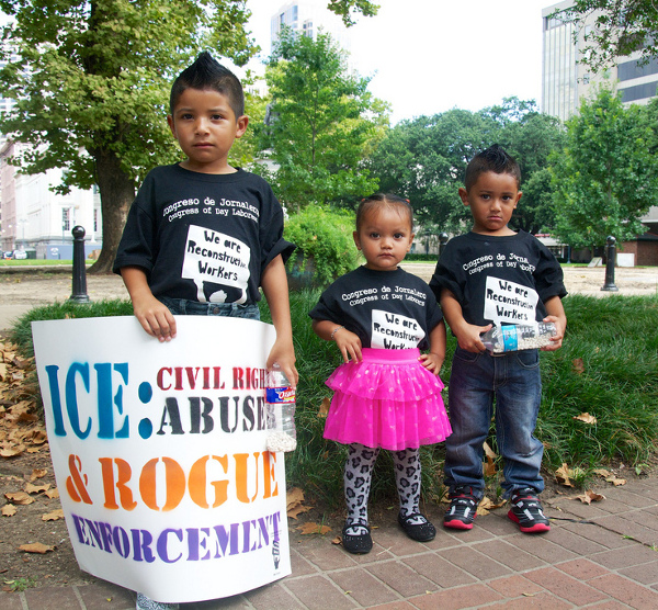Immigrant leaders and children protest raids and deportations. PHOTO/TED QUANT