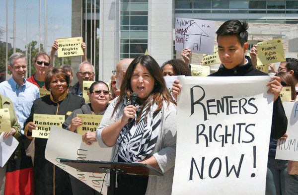 Renters' protest in San Jose, California, home of the billion dollar high tech industry. Skyrocketing rents of up to $3000 a month are forcing low-wage workers out. PHOTO/ KRISTIN PEDDERSON