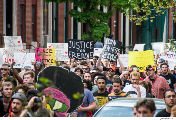 Protest for justice for Freddie Gray who died in police custody in Baltimore, MD. PHOTO/JOSH SISK, JOSHSISK.COM