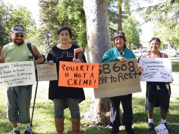 Participants in the Global Homeless March at Merced Courthouse Park in Merced, California on April 15, 2015. PHOTO/GLORIA SANDOVAL
