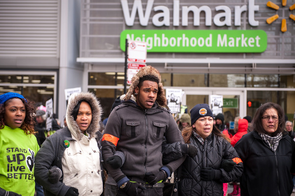 Protest of low wage workers against Walmart in Chicago. PHOTO/UFCW INTERNATIONAL