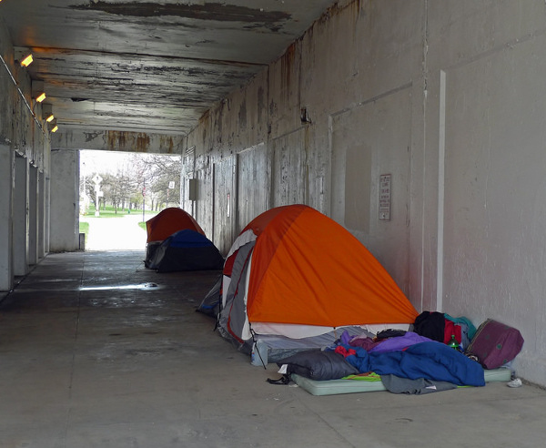Tent city under the viaduct beneath Chicago's Lakeshore Drive, an area where some of the most sought after properties for the wealthy are located. PHOTO/CURTIS LOCKE