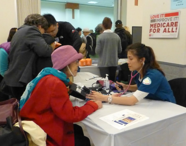 Attendance was up at the yearly winter health fair for the homeless in San Jose, CA. Life expectancy is 78 in the U.S., but 42 to 52 years for the long-term homeless. PHOTO/MEDICARE FOR ALL COALITION