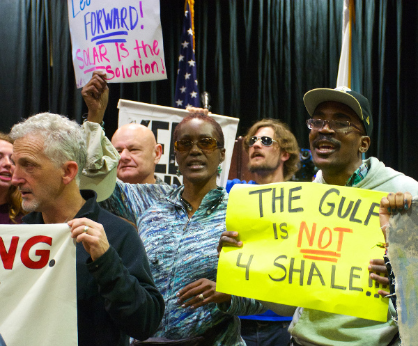 Protest in New Orleans over the oil spills in the Gulf of Mexico. Protesters took over the auction of oil leases. PHOTO/TED QUANT