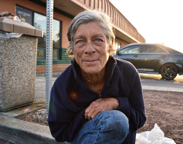 Leslie, a homeless woman in Santa Ana, CA., said her husband recently went missing. She said if she had one wish it would just be to see him again. PHOTO/DAVE GUZMAN