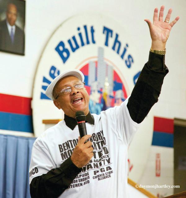 Rev. Edward Pinkney speaking at a U.A.W. local in Detroit. PHOTO/DAYMONJHARTLEY.COM