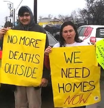 Homeless demonstrators