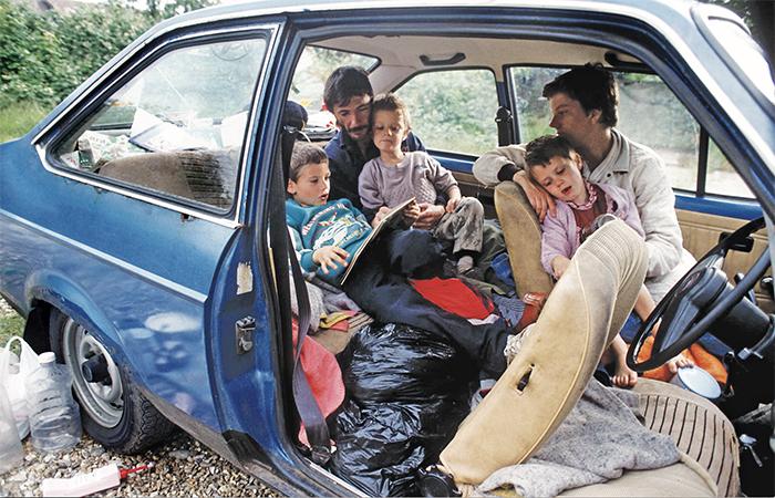 family living in car