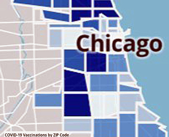 map of vaccinated areas of Chicago