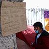 immigrant child at border encampment