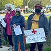 protesters at hospital